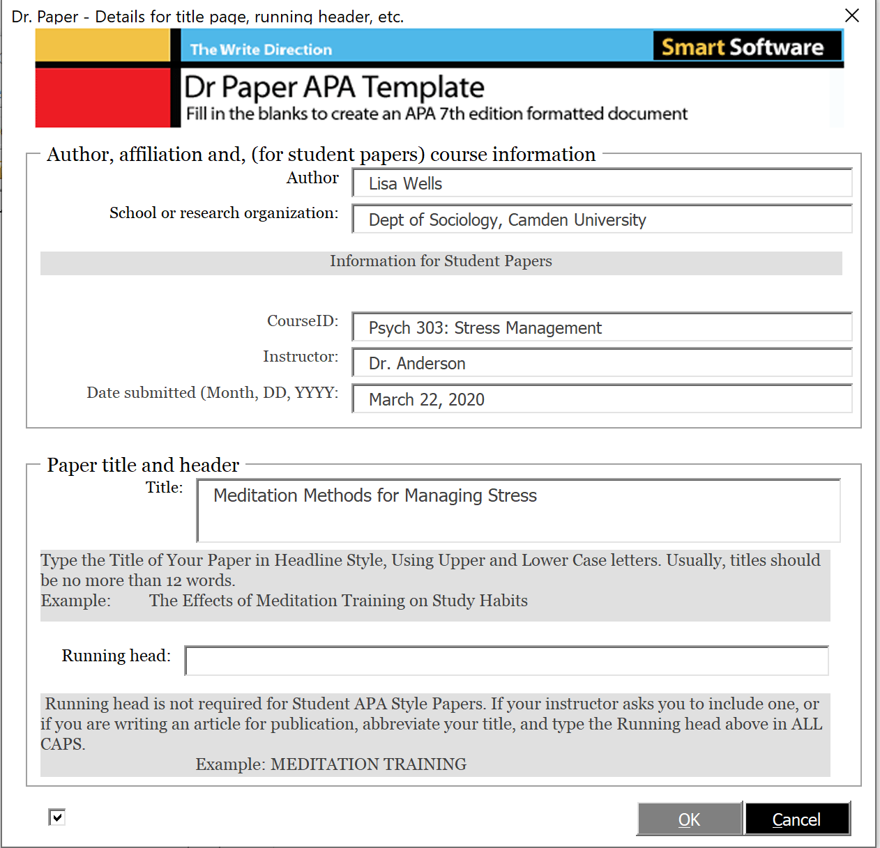 Creating an APA Style Document with Dr Paper Software